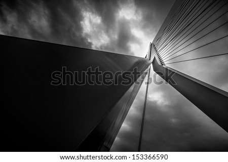ROTTERDAM, THE NETHERLANDS - MAY 30: Abstract detail of the Erasmus Bridge on May 30, 2010 in Rotterdam, The Netherlands. Erasmus Bridge is a cable-stayed bridge across the Nieuwe Maas river. - stock photo