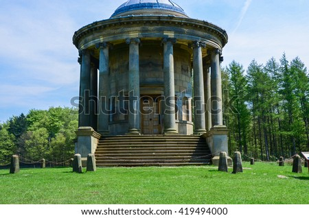Rotunda in Stainborough Park built 1742-1746, is said to be based on the Temple of Vesta in Rome - stock photo