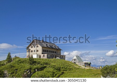 Rotwand hut - popular mountain hut in Upper Bavaria Mangfall mountains - stock photo
