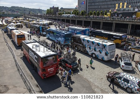 ROUEN, FRANCE,JUL 5 :Upper view of some buses of the cycling teams from Le Tour de France in Rouen just before the start in the 5th stage of the 2012 edition  in Rouen,Normandy on July 5 2012.