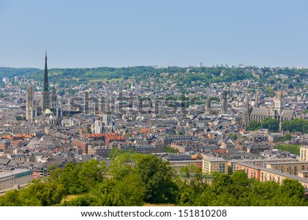 Rouen in a summer day under the blue sky