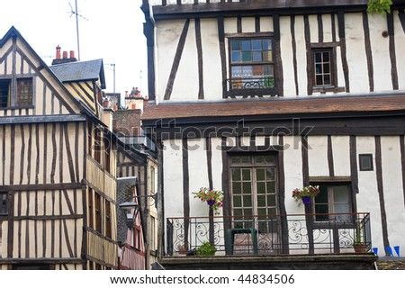 Rouen (Seine-Maritime, Haute-Normandie, France) - Exterior of  ancient half-timbered  houses