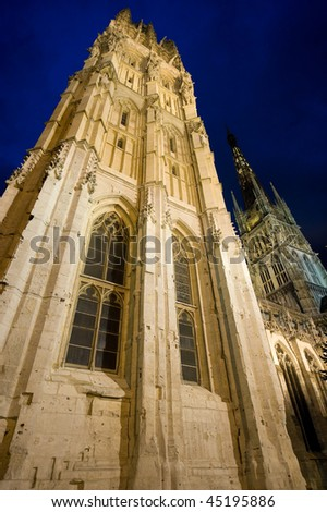 Rouen (Seine-Maritime, Haute-Normandie, France) - Exterior of the cathedral, in gothic style, illuminated at night