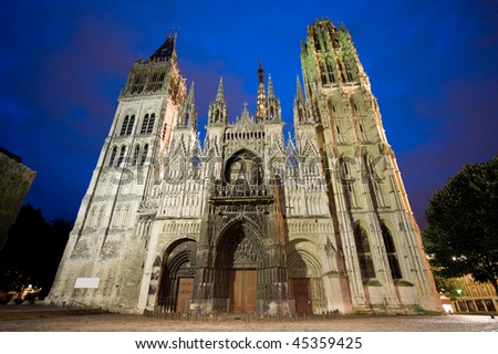 Rouen (Seine-Maritime, Haute-Normandie, France) - Facade of the cathedral, in gothic style, illuminated at night
