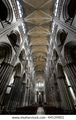 Rouen (Seine-Maritime, Haute-Normandie, France) - Interior of the cathedral, in gothic style
