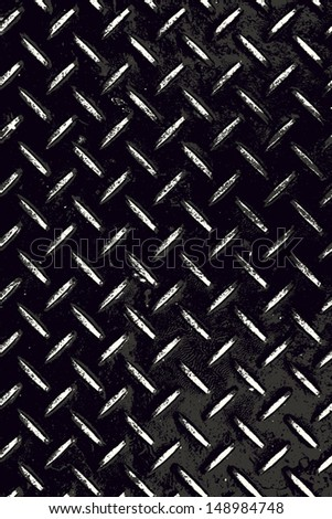Rough and textured high contrast diamond plate background in black and white. - stock photo