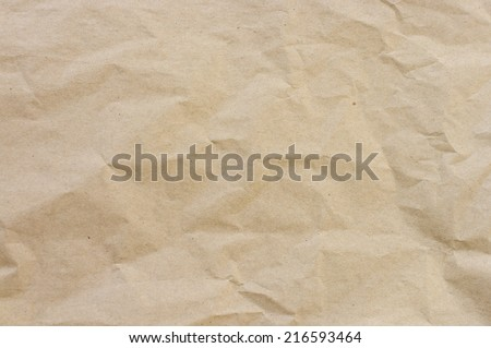 rough beige crumpled paper - stock photo