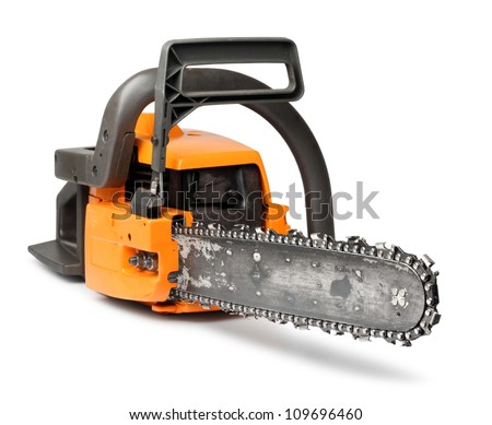 Rough big orange chain saw front view isolated on white - stock photo