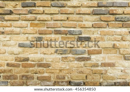 Rough brick wall Abstract weathered texture stained old stucco light gray and aged paint white brick wall background in rural room, grungy rusty blocks of stonework technology color horizontal    - stock photo