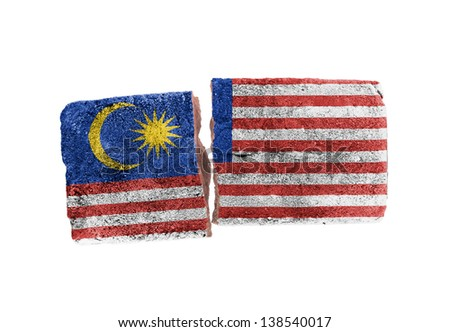 Rough broken brick, isolated on white background, flag of Malaysia