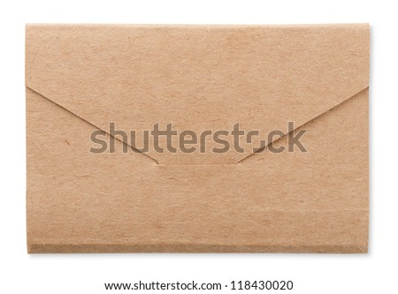 Rough brown envelope isolated on white - stock photo