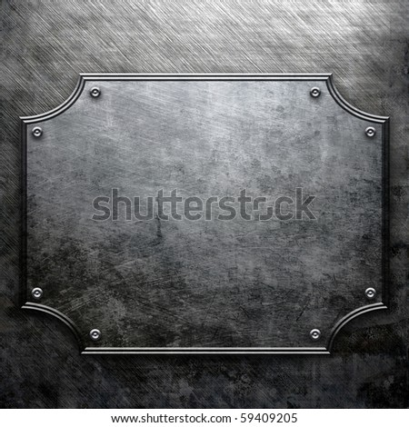 Rough empty metal plate - stock photo
