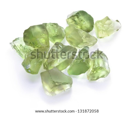 Rough green amethyst gemstones isolated on white background - stock photo