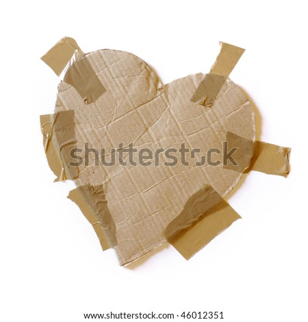 Rough heart-shaped cardboard with wrapping tape isolated in white - stock photo