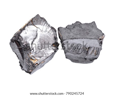 Rough lustrous elite shungite from Russia isolated on white background