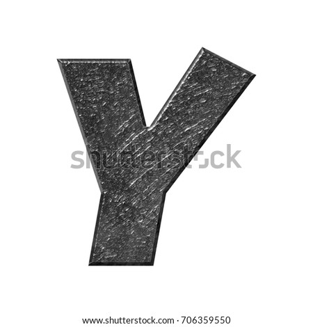 Rough metallic uppercase or capital letter Y in a 3D illustration with a rocky texture and shiny dark gray metal surface with a basic bold font isolated on a white background with clipping path.