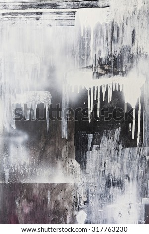 Rough paint textured black and white dripping spraypaint artwork background - stock photo
