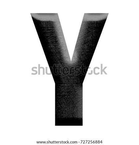 Rough plastic style hatched texture uppercase or capital letter Y in a 3D illustration with a deep black rubberized material effect and bold font isolated on a white background with clipping path.