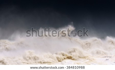rough sea with a stormy weather - stock photo