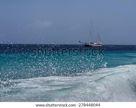 Rough seas - Curacao ( Dutch Antilles)  an island in the Caribbean Ocean  - stock photo