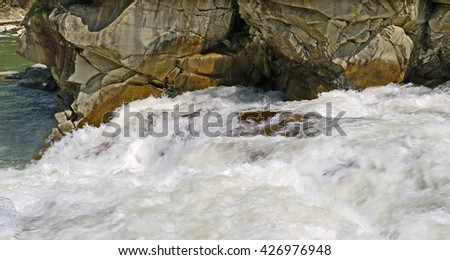 Rough stream of mountainous river Prut.
