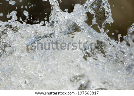 rough water with splashes on nature