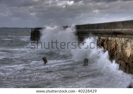 Rough weather and stormy seas at Holyhead Breakwater Ilse of Anglesey Wales