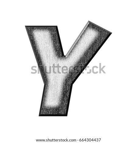 Rough white plastic uppercase or capital letter Y in a 3D illustration with a textured surface and painted shadow effect in a basic bold font style isolated on a white background with clipping path.