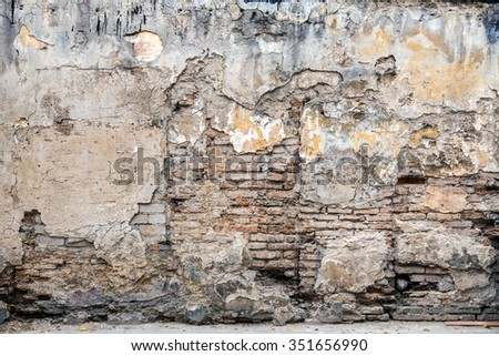 Rough, worn and grungy exterior of a building showing signs of decay and dilapidation.   - stock photo