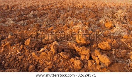 Roughly plough red earth - stock photo
