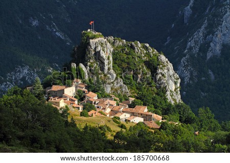 Rougon alpen village in Alpes de Haute Provence, France  - stock photo