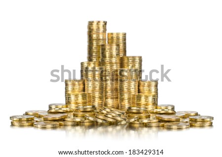 rouleau of gold  monetary or change coin, on white background, isolated - stock photo