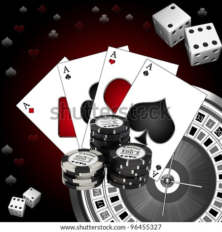 Roulette casino cards and chips