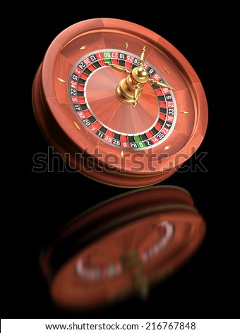 Roulette casino on black reflective background. Clipping path included. - stock photo