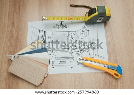 Roulette line, hardware Stationery knife cutter, palette - stock photo