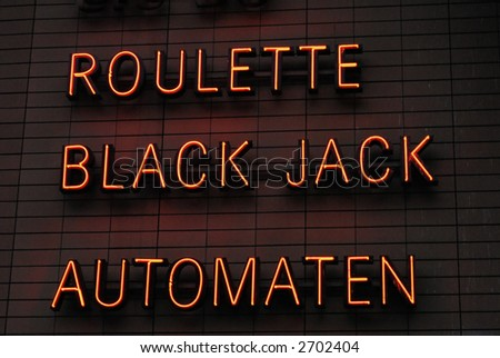 Roulette or Black Jack Neon Sign - stock photo