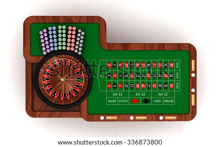 Roulette table, top view. 3D render illustration isolated on white background - stock photo