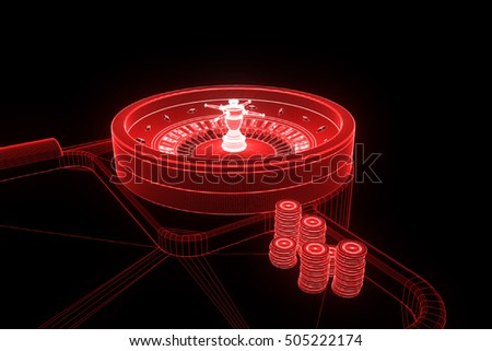 Roulette Table with Chips in Hologram Wireframe Style. Nice 3D Rendering