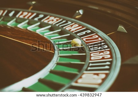 Roulette wheel in casino close-up