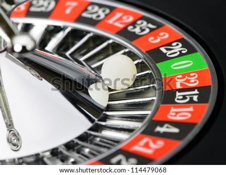 Roulette wheel in casino closeup. High detailed photo - stock photo