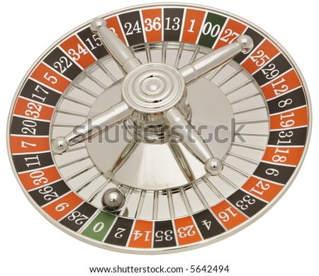 Roulette Wheel - isolated on white - stock photo