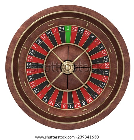 Roulette wheel  isolated on white background. High resolution 3d - stock photo