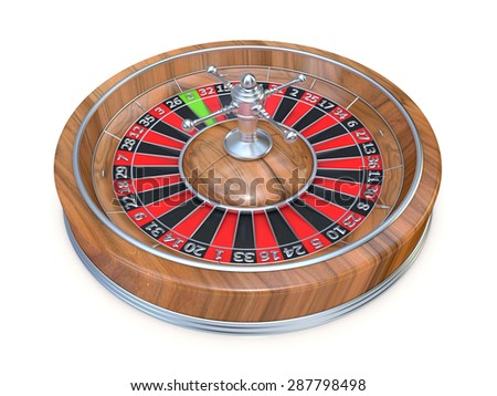 Roulette wheel. Side view. 3D render illustration isolated on white background - stock photo