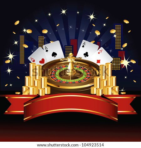 Roulette wheel with coins and cards on night city background - stock photo
