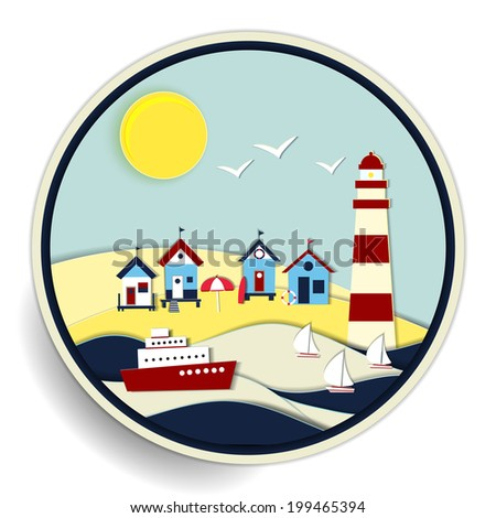 Round badge with a colourful summer seascape with a striped lighthouse and huts on a golden beach and sailboats and a passenger cruise ship at sea on the waves - stock photo