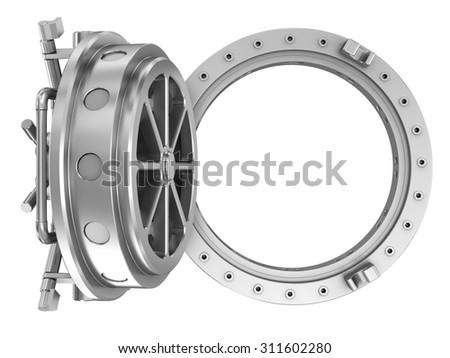Round bank vault door - stock photo