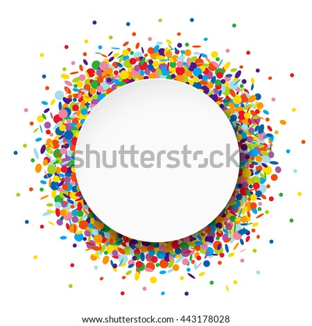 Round Banner on confetti background