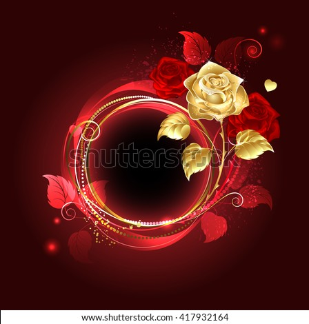 Round banner with gold and red rose on red background. Design with roses. Gold rose. Red rose. - stock photo