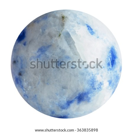 round bead from Sodalite natural mineral gem stone isolated on white background