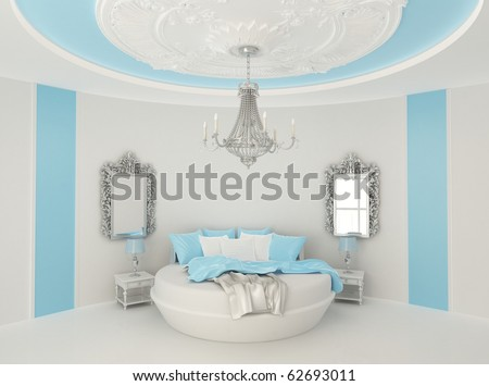 Round bed in baroque interior - stock photo